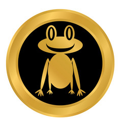 Frog button on white vector