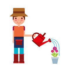 gardener boy watering can and potted flowers vector image