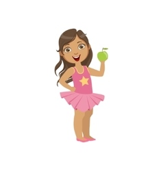 Girl Holding Green Apple Healthy Snack For Teeth vector