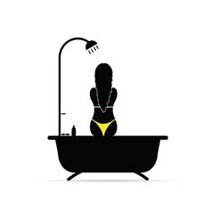 girl shower in bikini silhouette vector image