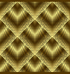 gold 3d greek seamless pattern ornate vector image