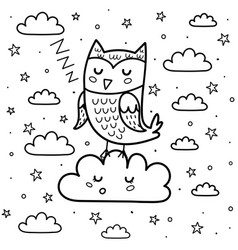 good night coloring page with a cute sleeping owl vector image