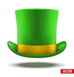 Green hat cylinder with gold ribbon vector image