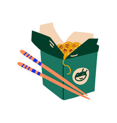 Green takeaway carton box noodles with vector