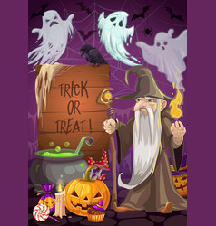 Halloween potion wizard and ghost trick or treat vector