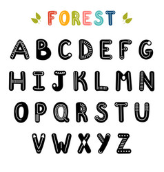 hand drawn english alphabet cute letters with vector image