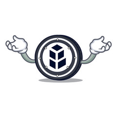 Hand up bancor coin character cartoon vector
