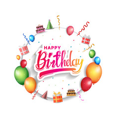 Happy birthday design with white circle and vector