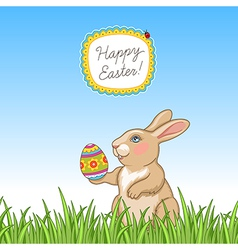 happy easter card grass vector image