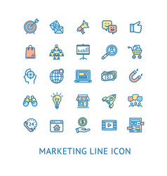 inbound marketing color thin line icon set vector image