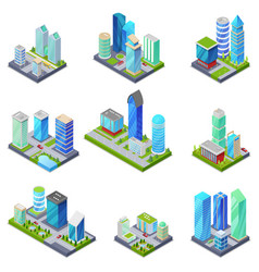 Isometric 3d set summer city quarters vector