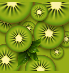 kiwi green background sliced kiwi pieces vector image