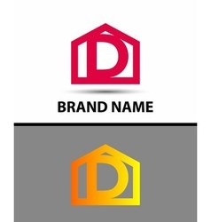 Letter d logo with home icon vector image