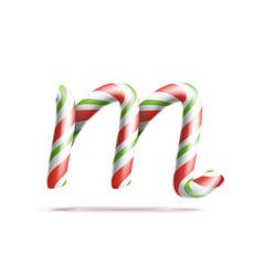 Letter m 3d realistic candy cane alphabet vector