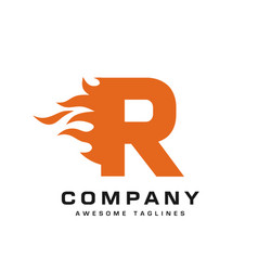 Letter r and fire vector