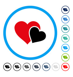 Love hearts rounded icon vector