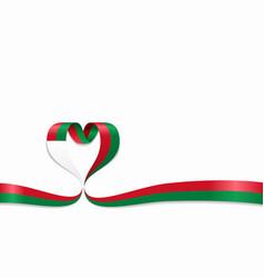 madagascar flag heart-shaped ribbon vector image