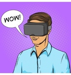 Man and virtual reality device comic book vector