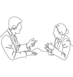 man and woman discussion one line conversation vector image