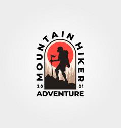 man hiking mountain logo vintage adventure vector image