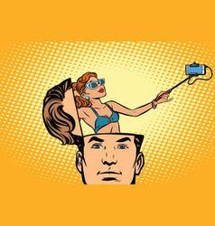 Man with an open head selfie girl smartphone vector
