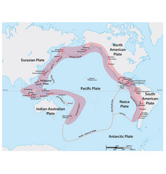 Map pacific ring fire vector