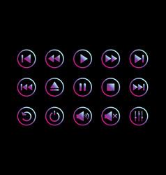 Media player control icon set vector