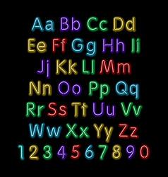 Neon glow alphabet design party retro 3d art font vector