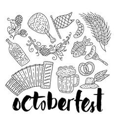 octoberfest beer festival doodle hand drawn set vector image