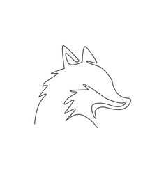 one continuous line drawing cute fox business vector image