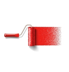 Paint roller brush with red paint track vector