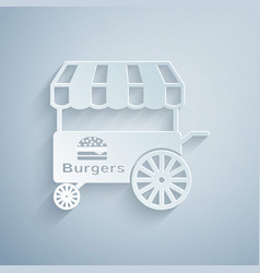 Paper cut fast street food cart with awning icon vector
