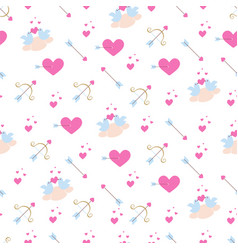 Pattern with pink hearts birds and arrows vector