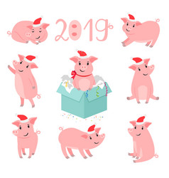 Pig new year character set vector