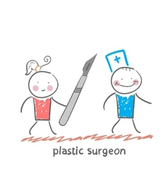 Plastic surgeon escapes from the patient with a vector