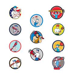 plumber mascot circle cartoon set vector image