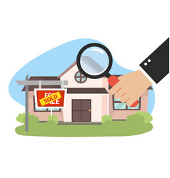 real state house sold and businessman with vector image