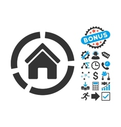 Realty Diagram Flat Icon with Bonus vector image