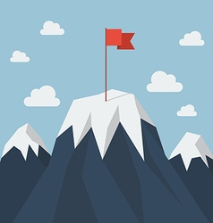 Red flag on a Mountain peak vector
