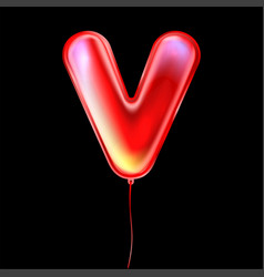 Red metallic balloon inflated alphabet symbol v vector