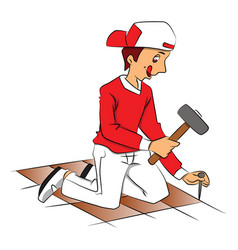Repairman hammering nail to remove tiled floor vector