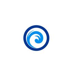round wave ocean logo vector image