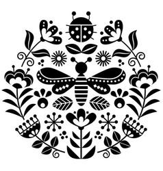 scandinavian folk flowers design cute vector image