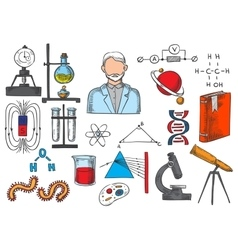Science items sketch icons vector image