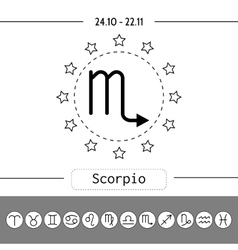 Scorpio Signs of zodiac flat linear icons for vector image