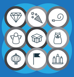 Set 9 holiday icons includes brilliant vector