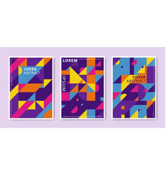 set abstract retro graphic design covers vector image
