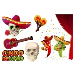 Set Cinco de Mayo Mexican skull in sombrero vector