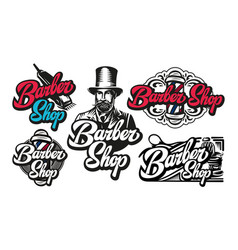 set five templates for barbershop vector image