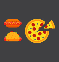 Set of colorful cartoon fast food pizza icons vector